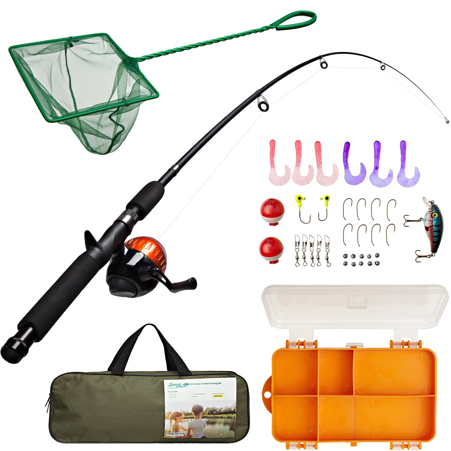 Lanaak Kids Fishing Pole and Tackle Box - with Net, Travel Bag, Spincast Reel and Beginner's Guide | Collapsible Fishing Rod and Reel Combos Kit for Boys, Girls, and Adults by Lanaak