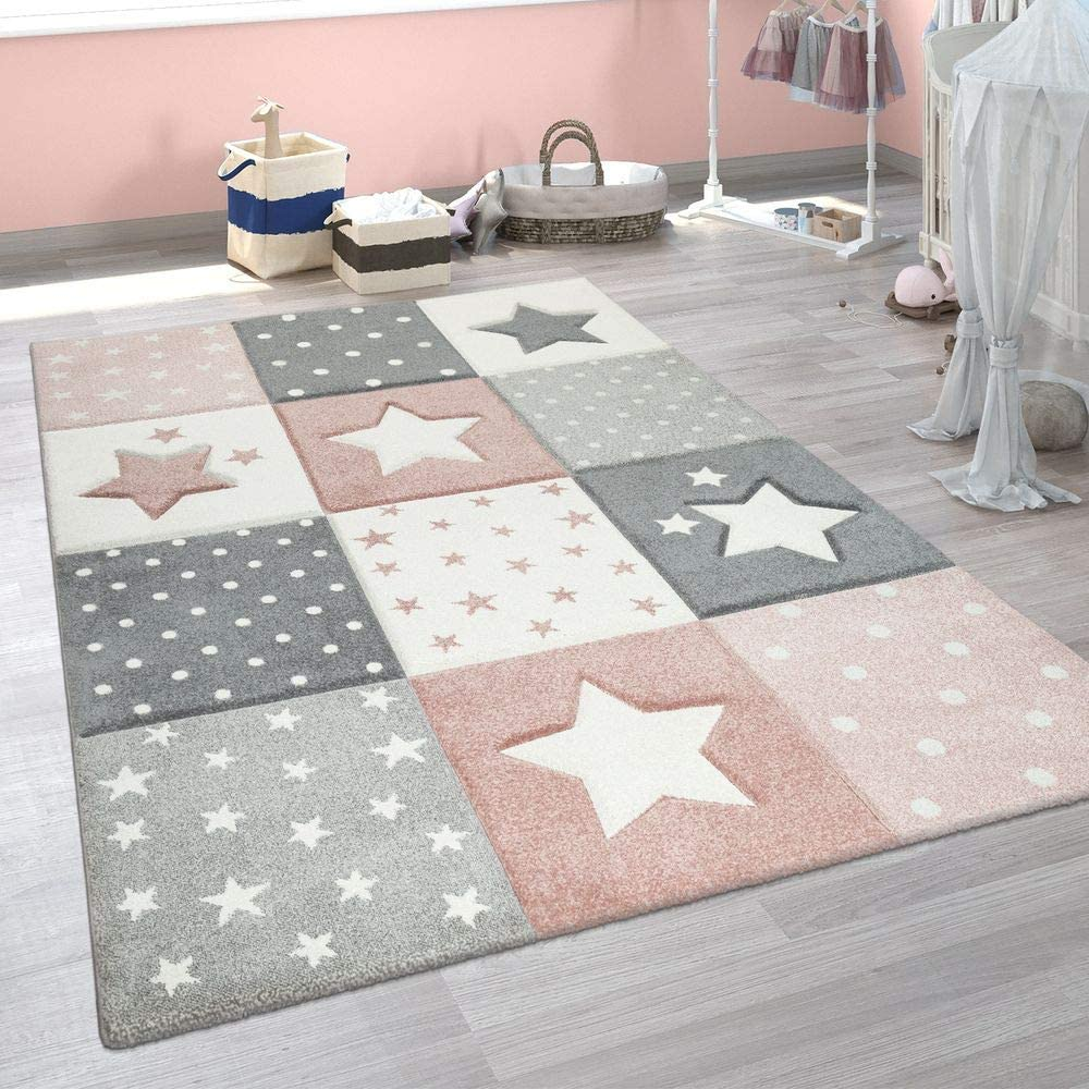 Paco Home Alfombra Infantil Moderna Pastel Cuadros Estrellas Lunares Diseño En Rosa Gris, tamaño:120x170 cm