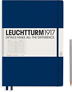 Leuchtturm1917 Master A4 Plus Ruled Hardcover Notebook- 233 Numbered Pages, Navy