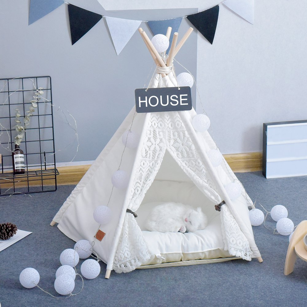 Pet Teepee Dog(Puppy) & Cat Bed - Portable Pet Tents & Houses for Dog(Puppy) & Cat Lace Style (with or without optional cushion)