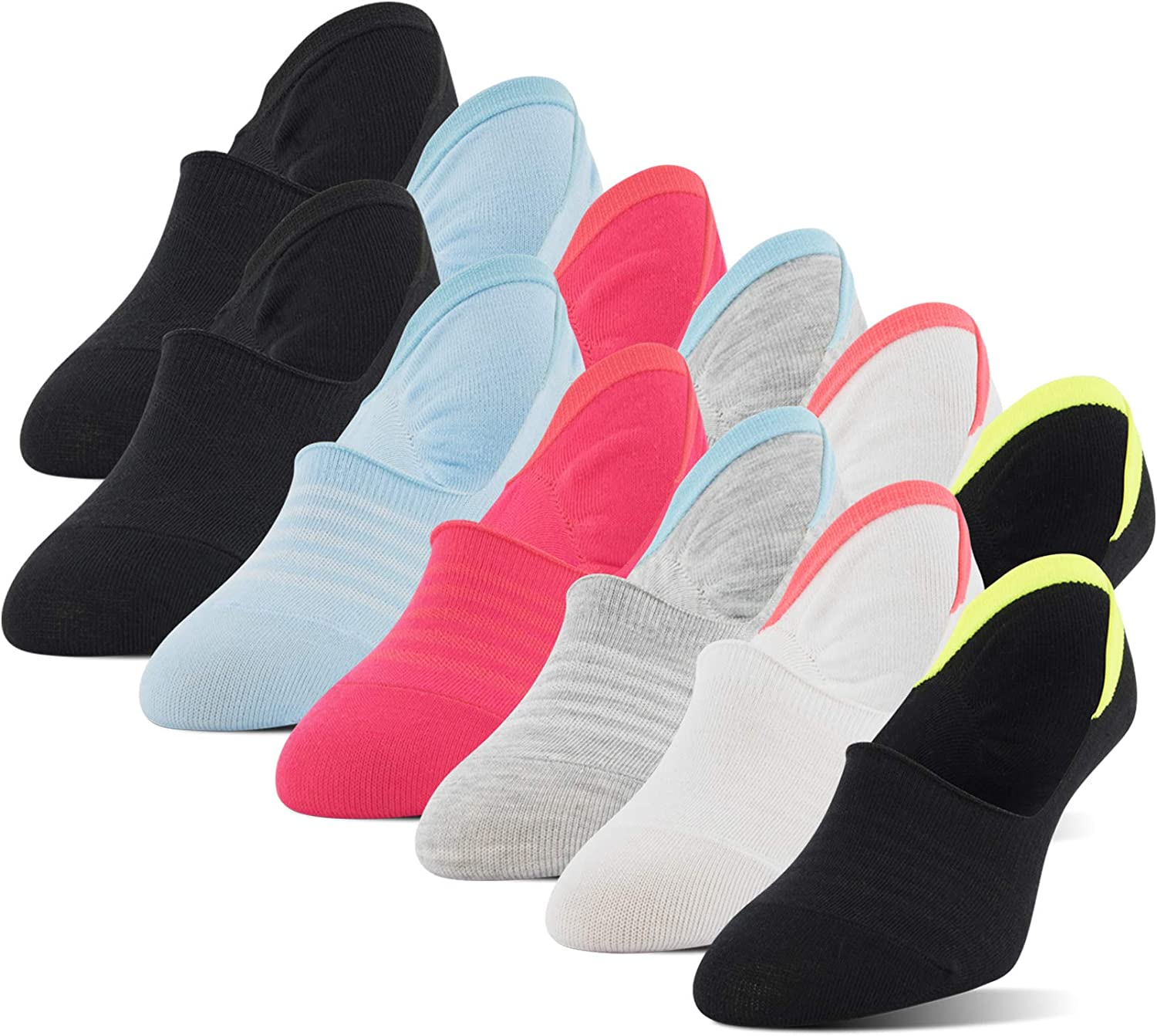 Shoe Size: 5-10 black//white//sport grey//pink//blue 12 Pairs PEDS Womens Mid Cut Liners with Y-Heel