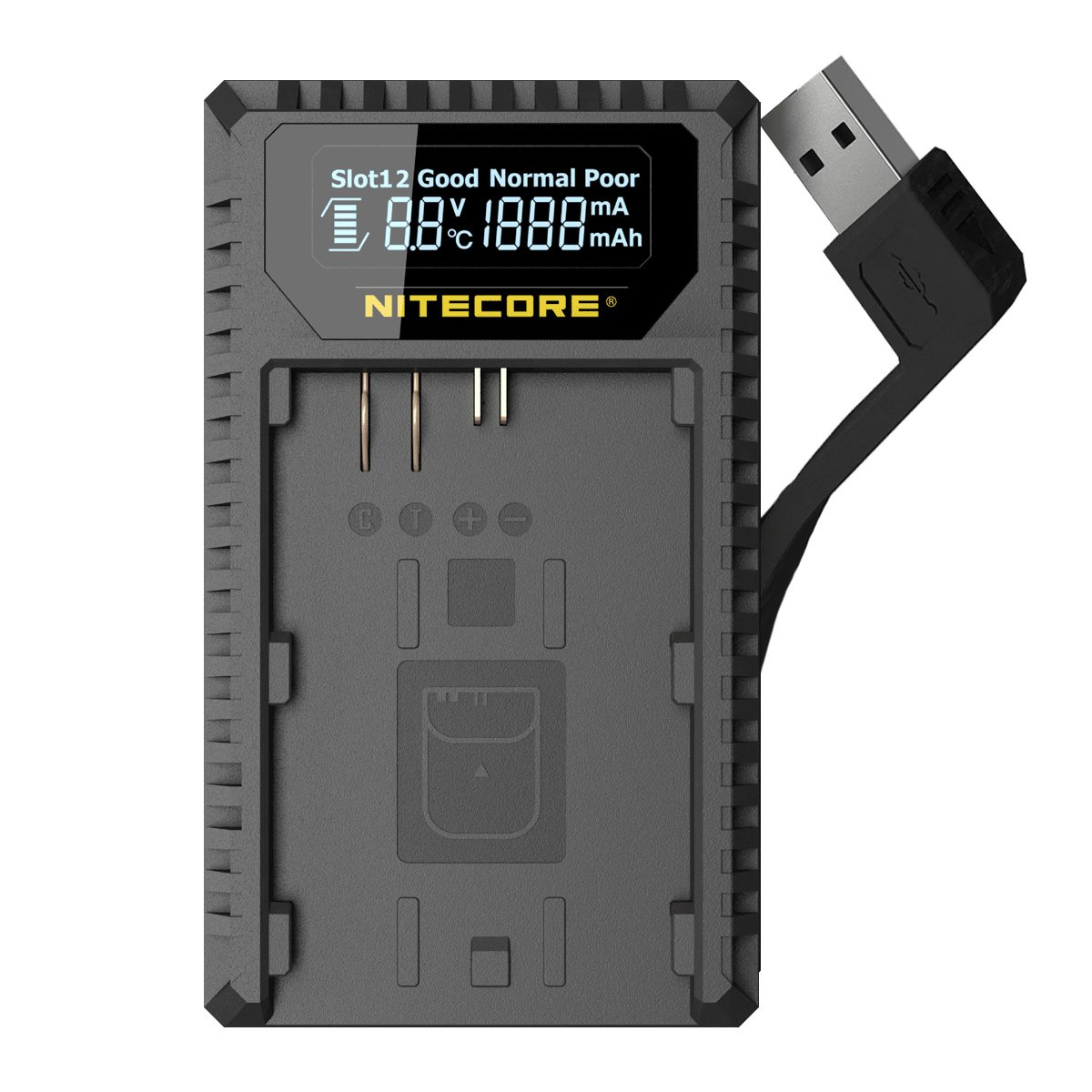 Nitecore UCN1 Digital USB Charger for Canon EOS LP-E6 LP-E6N & LP-E8 Batteries with Lumen Tactical Adapter - Compatible with Canon Rebel, Kiss, Mark II, Mark III, X4, & T Series Cameras
