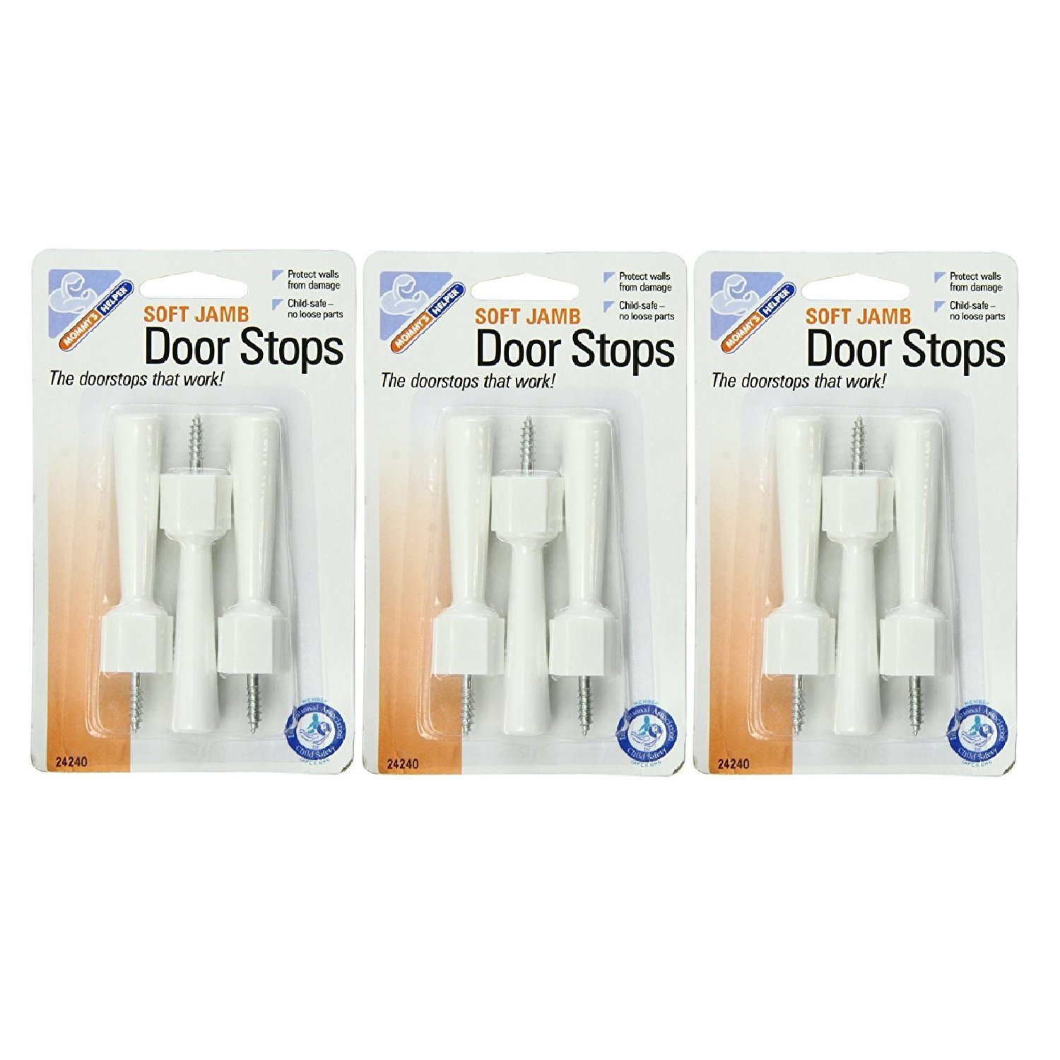 Mommys Helper Soft Jamb Door Stops Blister, White - 3 Packs Of 3 Count = 9 Count