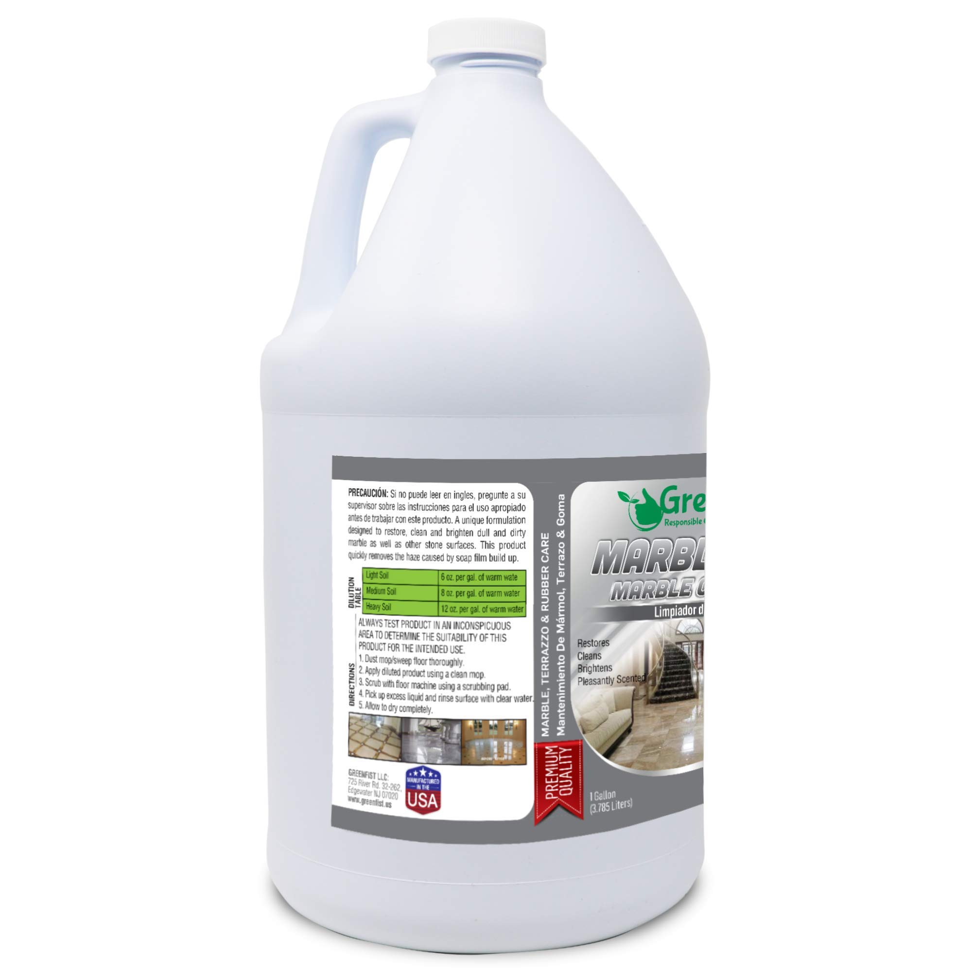 GreenFist Marbleous Marble Cleaner and Other Stone Surfaces Brightener & Restorer [Tile,Countertop,Porcelain,Lime-Stone,Ceramic,Granite,Brick,Vinyl] (1 Gallon) by GreenFist (Image #4)
