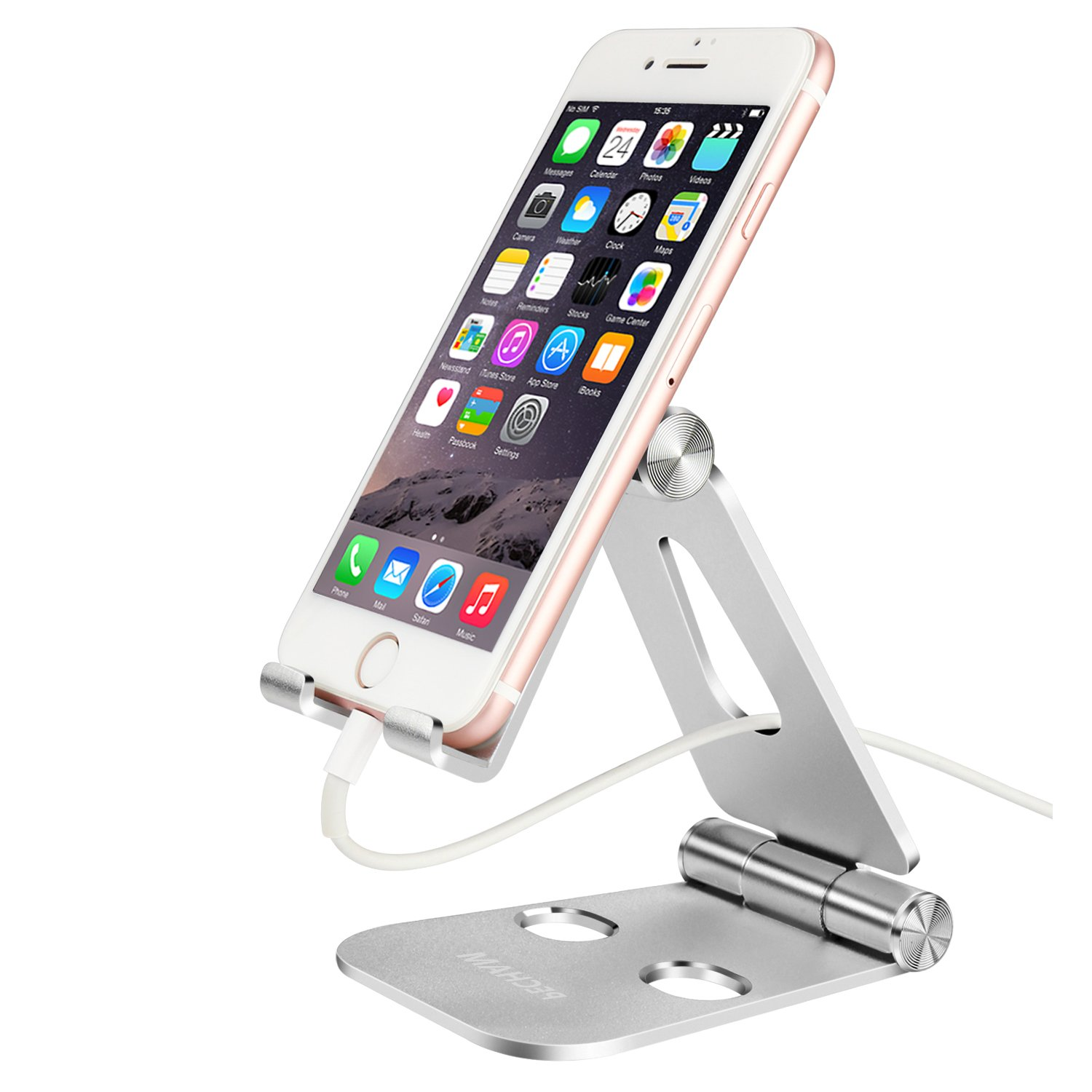 PECHAM Multi-Angle Stand for Cell Phone, Desk Stand Mount for Nintendo Switch, Iphone X 8 7 6 6s Plus 5 5s 5c, SamSung, Galaxy, Android Smartphones, Tablets, Universal Phone Holder- Silver