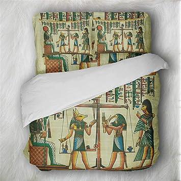 Egipto Faraón Cabeza de perro Patrón Ropa de cama Set - funda nórdica y funda de almohada, ...