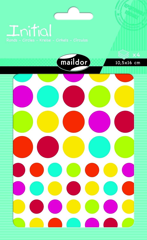 Maildor AE044O Un sachet de gommettes Initial comprenant 4 planches 10,5x16 cm motifs Rectangles couleurs assorties