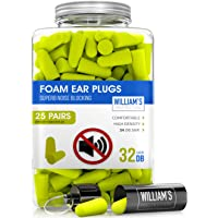 Soft Foam Ear Plugs - 25 Pairs Noise Cancelling Earplugs 32dB NRR - For Noise Reduction and Hearing Protection with Aluminum Carry Case - Perfect for Sleeping, Travel, Concerts, Shooting, Study & Work