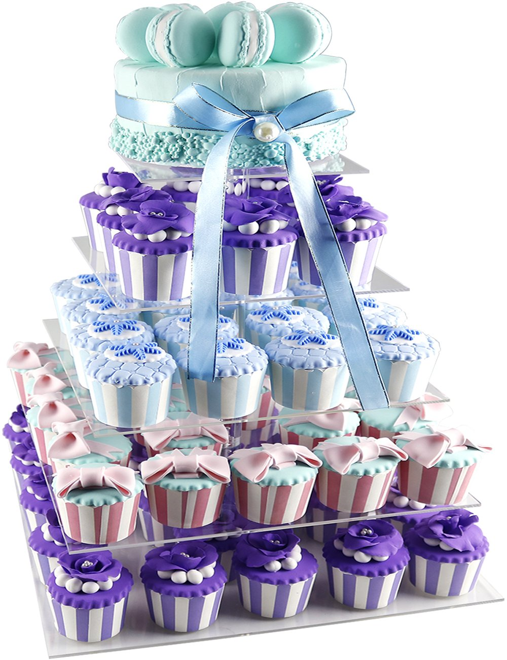 Suitable for All Special Occasions Baking Cups DYCacrlic Cupcake Holder Clear 3 Tier Square Acrylic Cupcake Holder Stand for Wedding Birthday Party Easy to Assemble Disassemble Wash /& Store