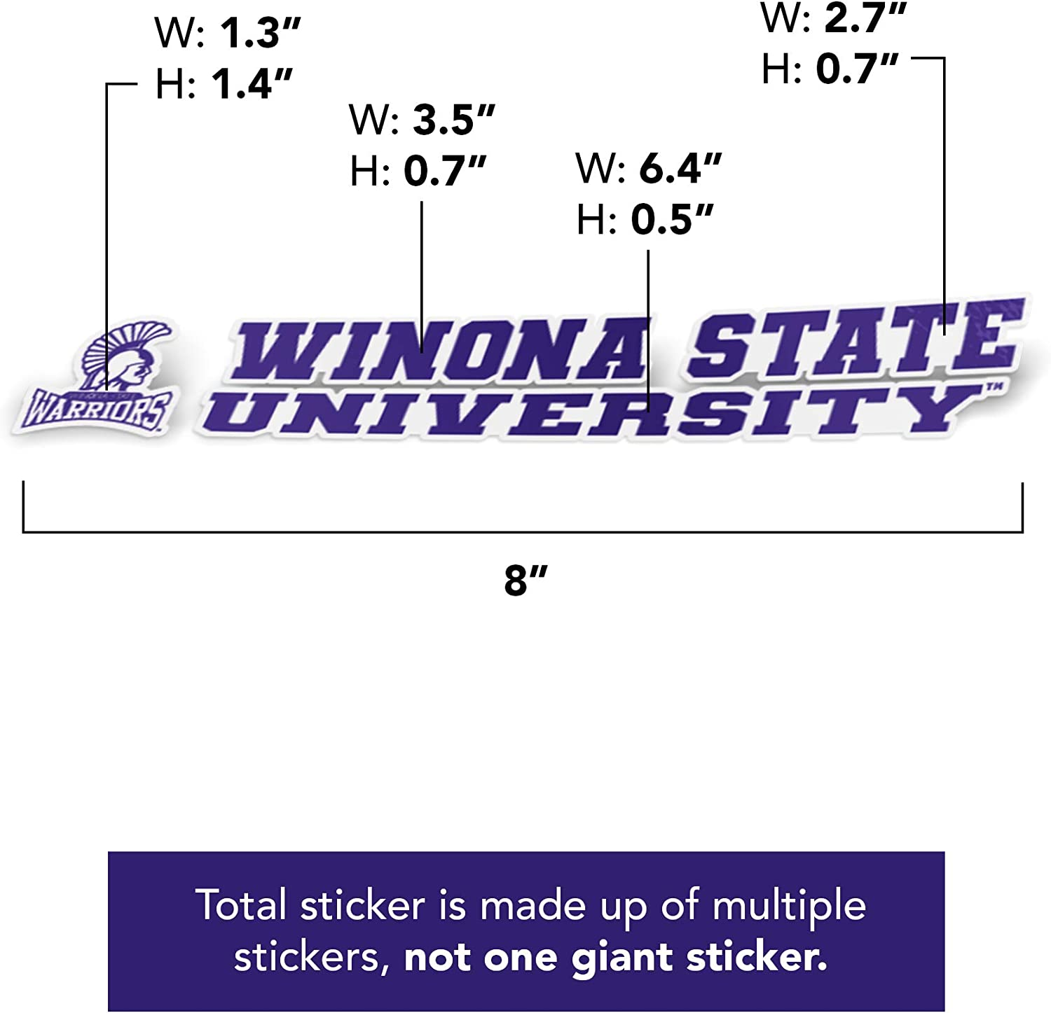 Winona State University Warriors NCAA Name Logo Vinyl Decal Laptop Water Bottle Car Scrapbook 8 Inch Sticker