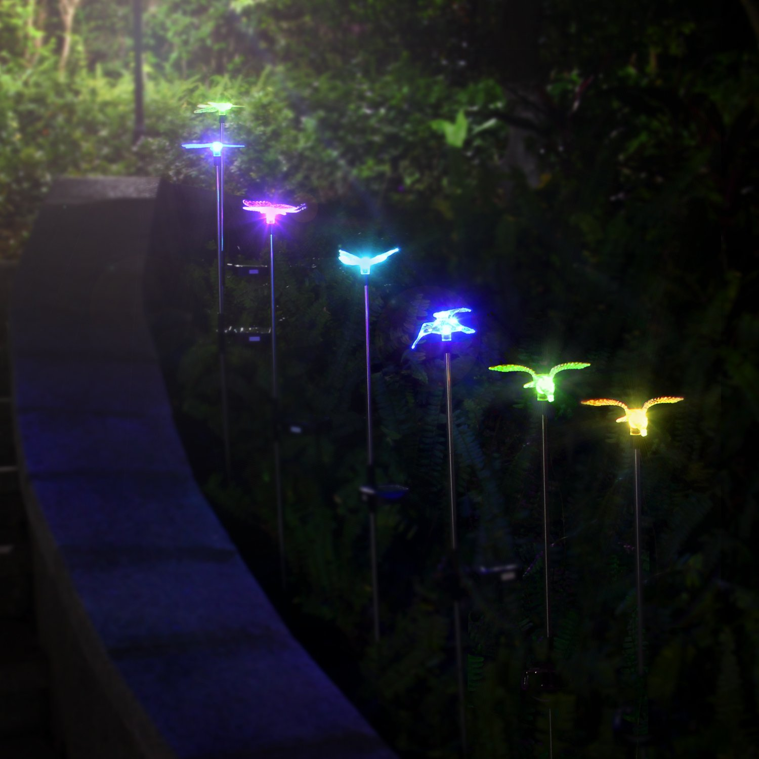 Oxyled Solar Garden Lights 3 Pack Solar Garden Stake Light Multi Color Changing Solar Powered