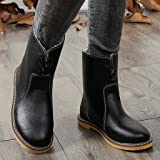 Lined Low Shaft Mid Calf Boot,〓FEISI22〓 Women's Comfort Faux Suede Fur Mid- Calf Flat Boot Ankle Boot