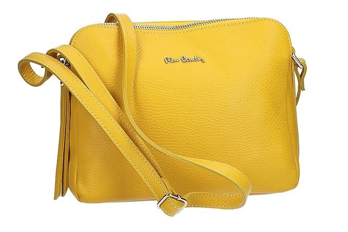 e252ccd39a Pierre Cardin Borsa donna a tracolla giallo in pelle Made in Italy VN2116:  Amazon.it: Abbigliamento