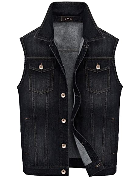 JYG Men's Lapel Denim Vest Fashion Sleeveless Jean Jacket at ...