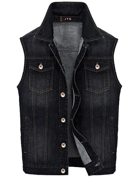 JYG Men's Lapel Denim Vest Fashion Sleeveless Jean Jacket at ...