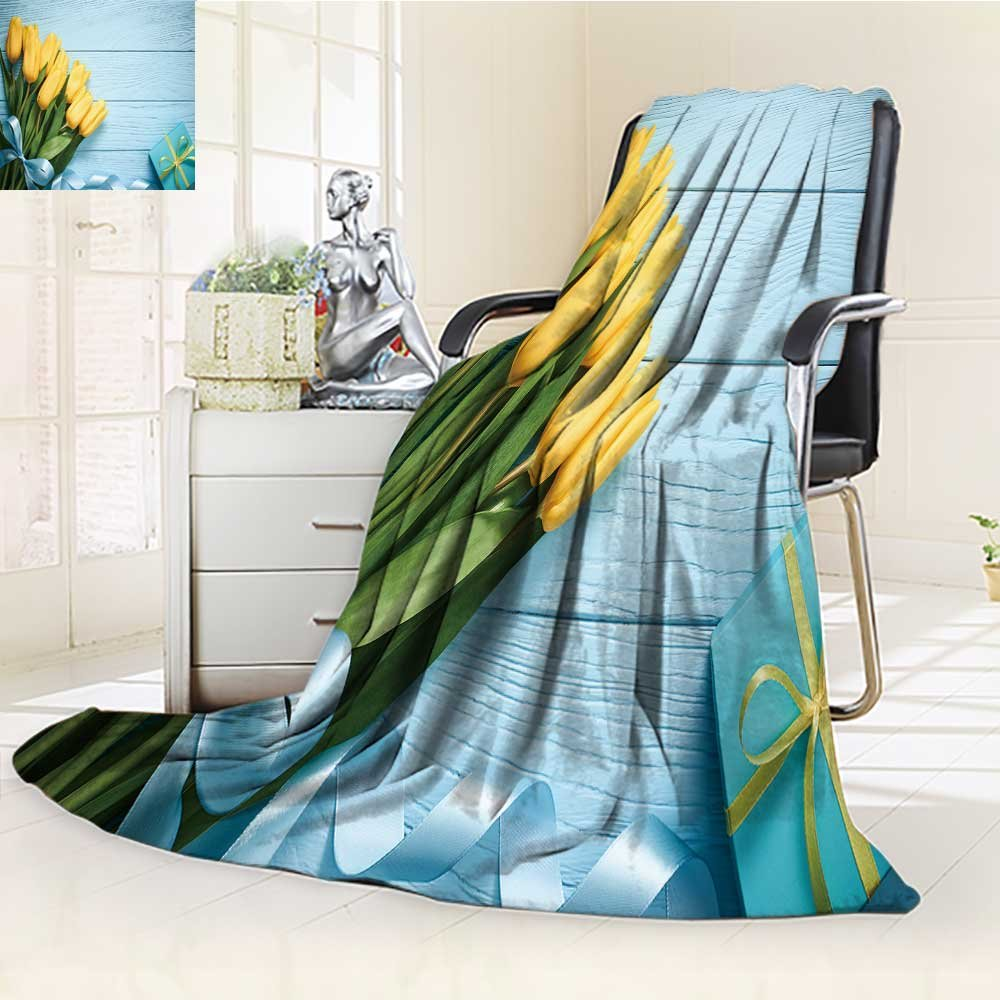 Luminous Microfiber Throw Blanket mothers day background tulips bouquet and gift box on blue wood beautiful sprin Glow In The Dark Constellation Blanket, Soft And Durable Polyester(60''x 50'')