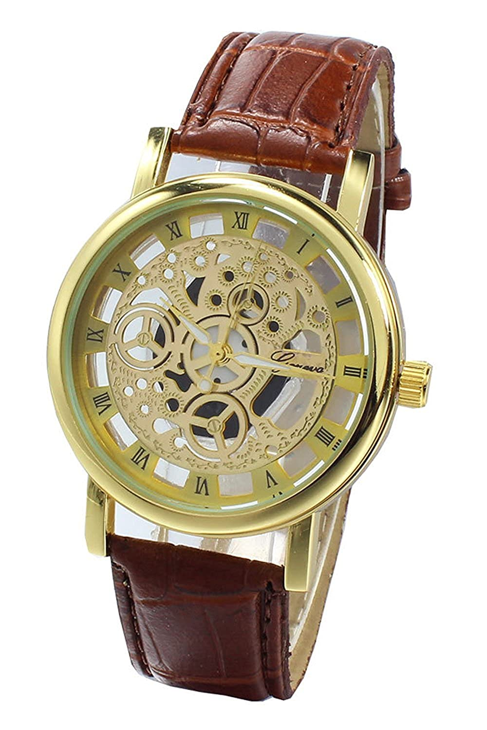 Amazon.com: TOOGOO(R) (Brown Strap & Golden Dial) Mens Faux Leather Band Wrist Skeleton Watch: Watches