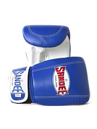 Sandee Authentic Muay Thai Blue /& White Leather Boxing Gloves Sparring