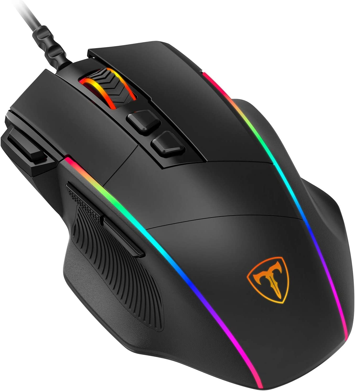 PICTEK Ratón Gaming, Ratón RGB Ergonómico de 8000 dpi (5 Niveles), 8 Botones Programables, 7 Modos de Iluminación RGB Personalizable, Ratones USB para PC, Laptop, MacBook