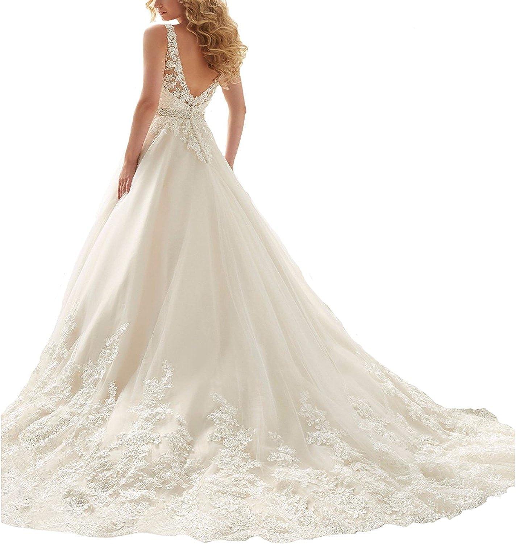 iMajors Womens V-Neck Lace Applique Long Train Wedding Dress A-line Bridal Gowns White Evening Dress