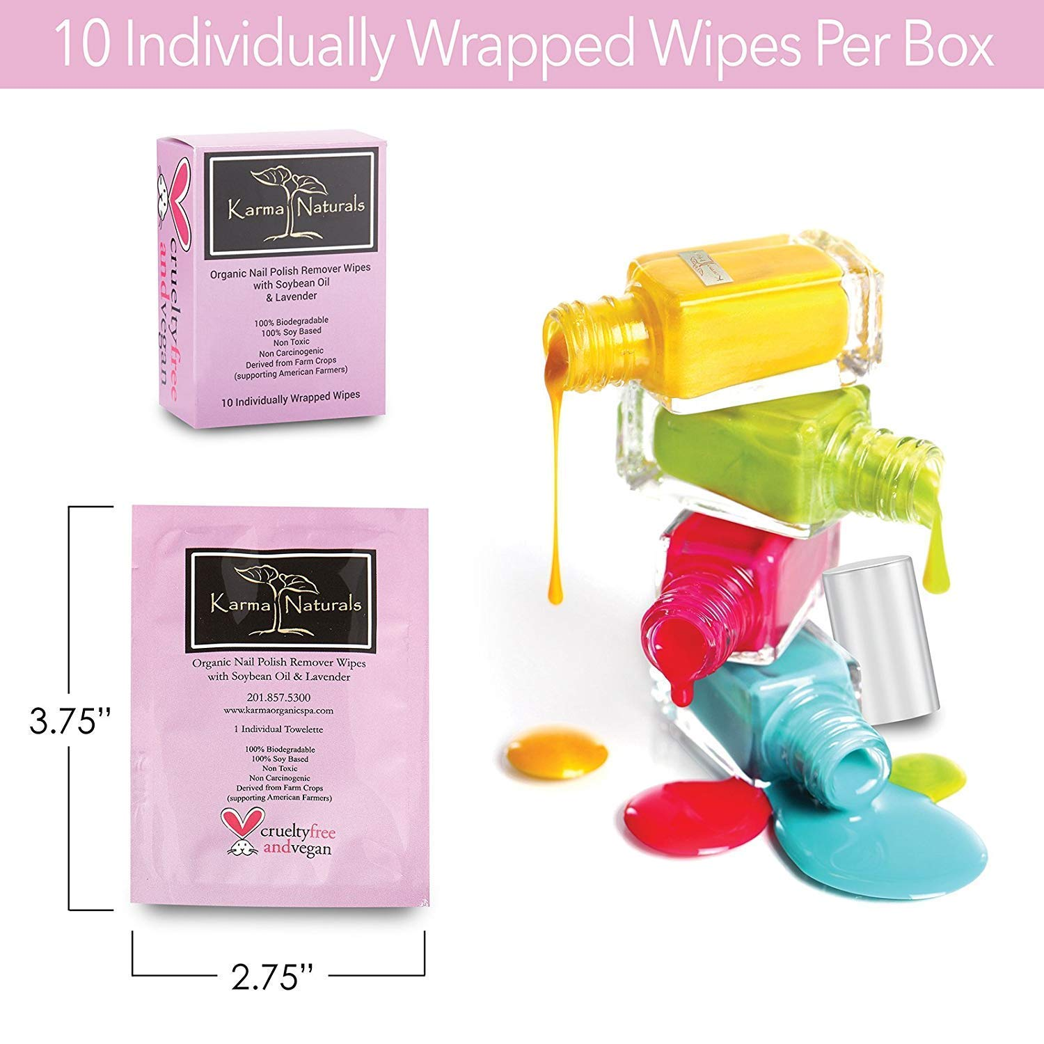Nail Polish Remover Wipes; Non-Toxic, Vegan, Cruelty-Free by Karma Organic Spa: Amazon.es: Belleza