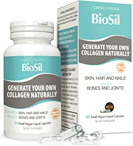BioSil Liquid Capsules by Natural Factors, Vegan Collagen Generator, Non-GMO, 60 Capsules (60 Servings)