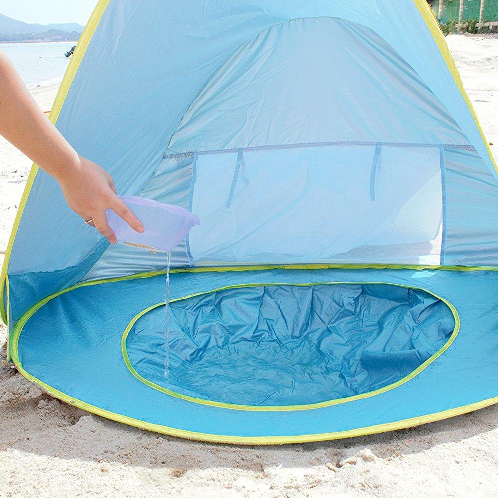 Tienda de Playa para el Bebé NHSUNRAY Instantáneas Refugio con Sistema Pop-up con Mini Piscina Desmontable Protección UV para la familia infantil Camping ...