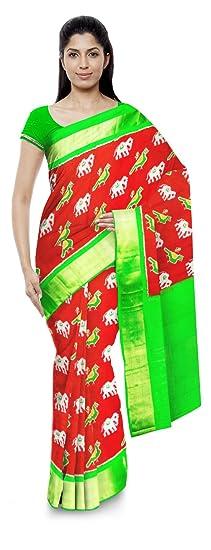 CHENNAKESHAVULU IKKAT POCHAMPALLY Women's Silk Saree (Multi-Coloured)