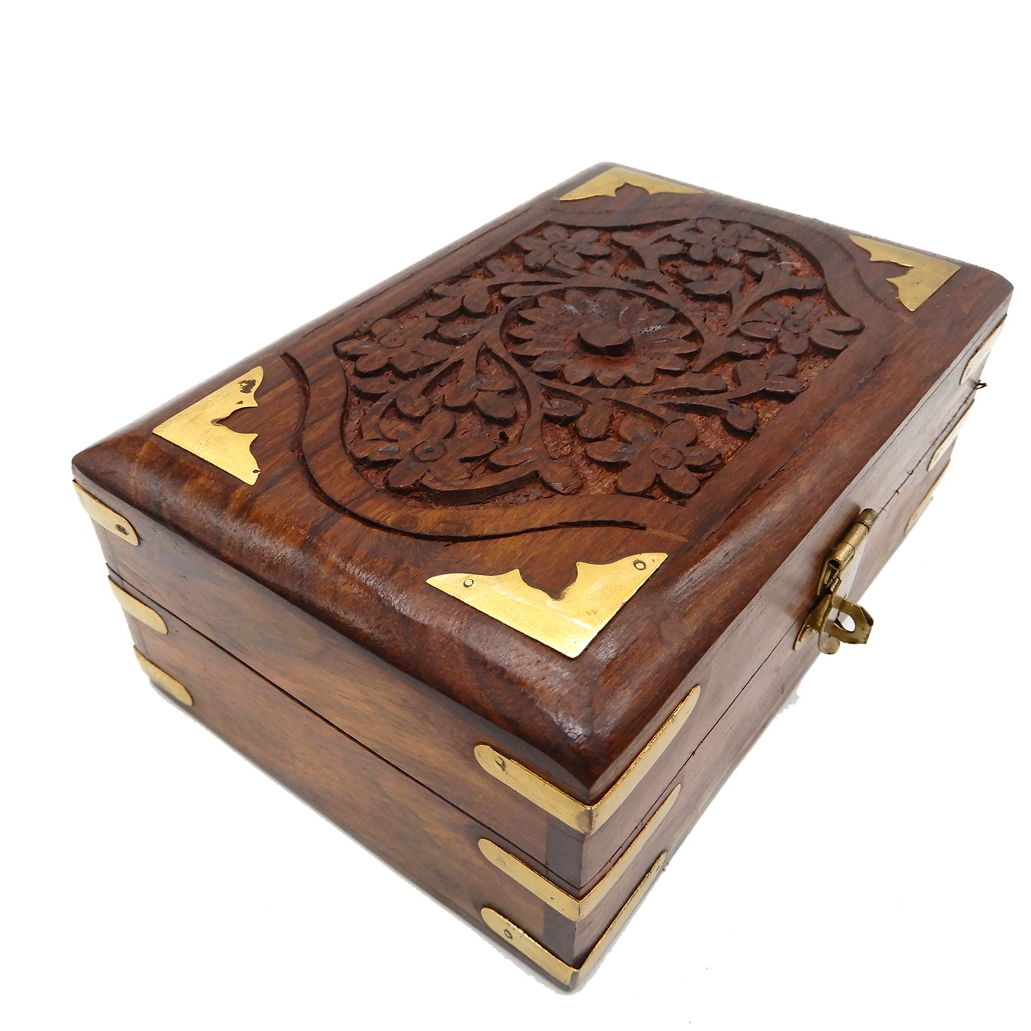Khandekar (with device of K) Handcrafted Decorative Wooden Jewelry Box Organizer with Floral Carvings/Elephant Brass Inlay and Velvet Interior 8 Inch PMK0511