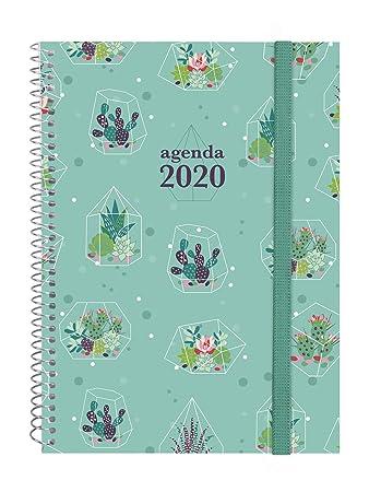 Finocam - Agenda 2020 semana vista apaisada Espiral Design Collection Cactus portugués