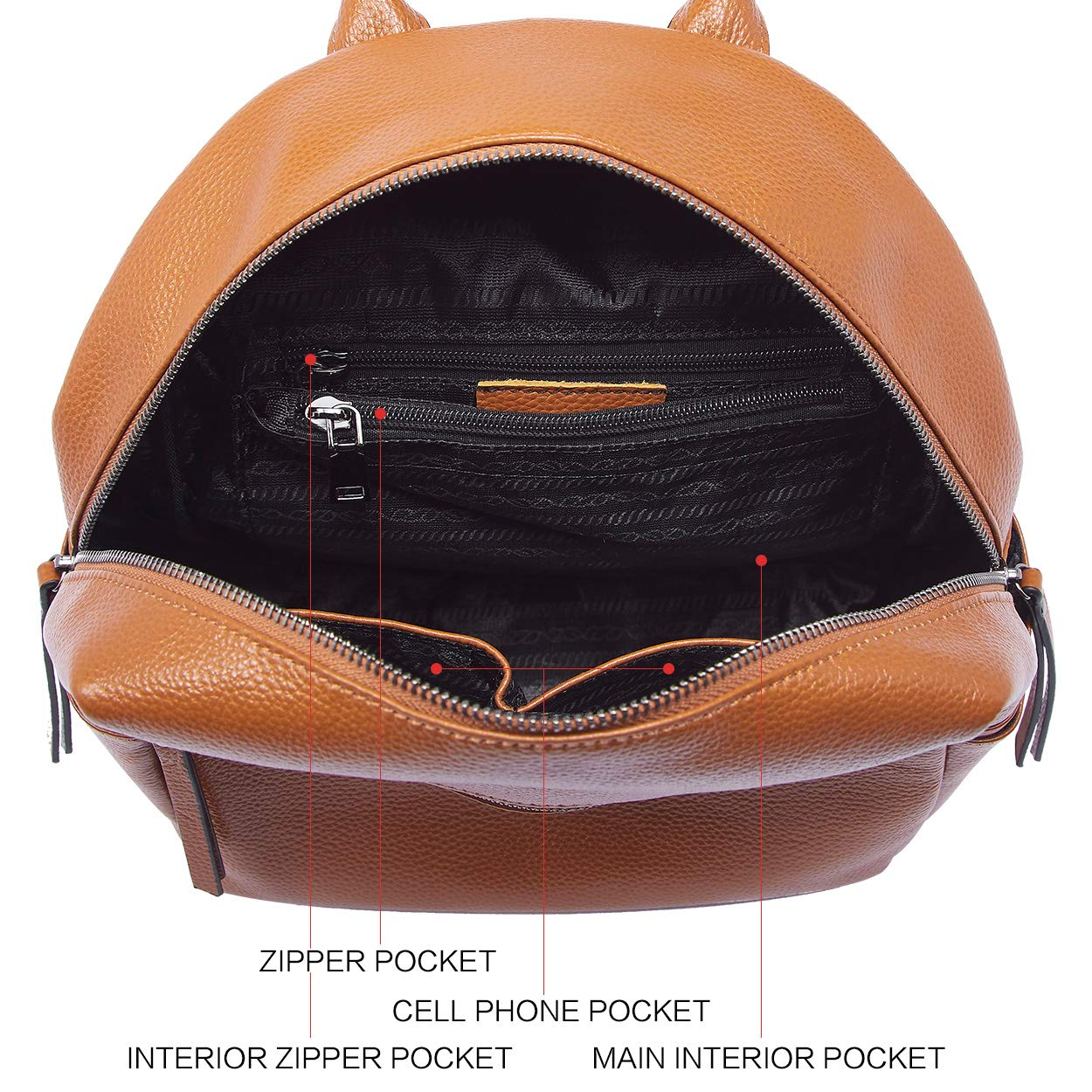 BOYATU Genuine Leather Backpack Purse for Women Anti-theft Small Shoulder Bags by BOYATU (Image #4)