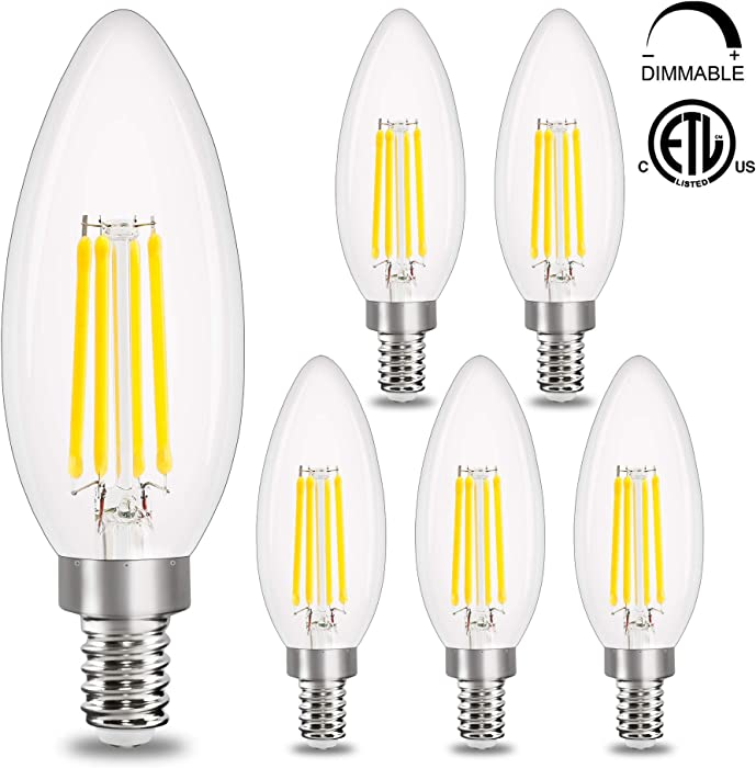 E12 LED Candelabra Bulb Dimmable,Comzler Chandelier Light Bulb 5000K Daylight White,40W Equivalent,Type B Ceiling Fan Bulbs,C35 B11 Edison Filament Candle Bulbs Candle Lights,400LM,Pack of 6