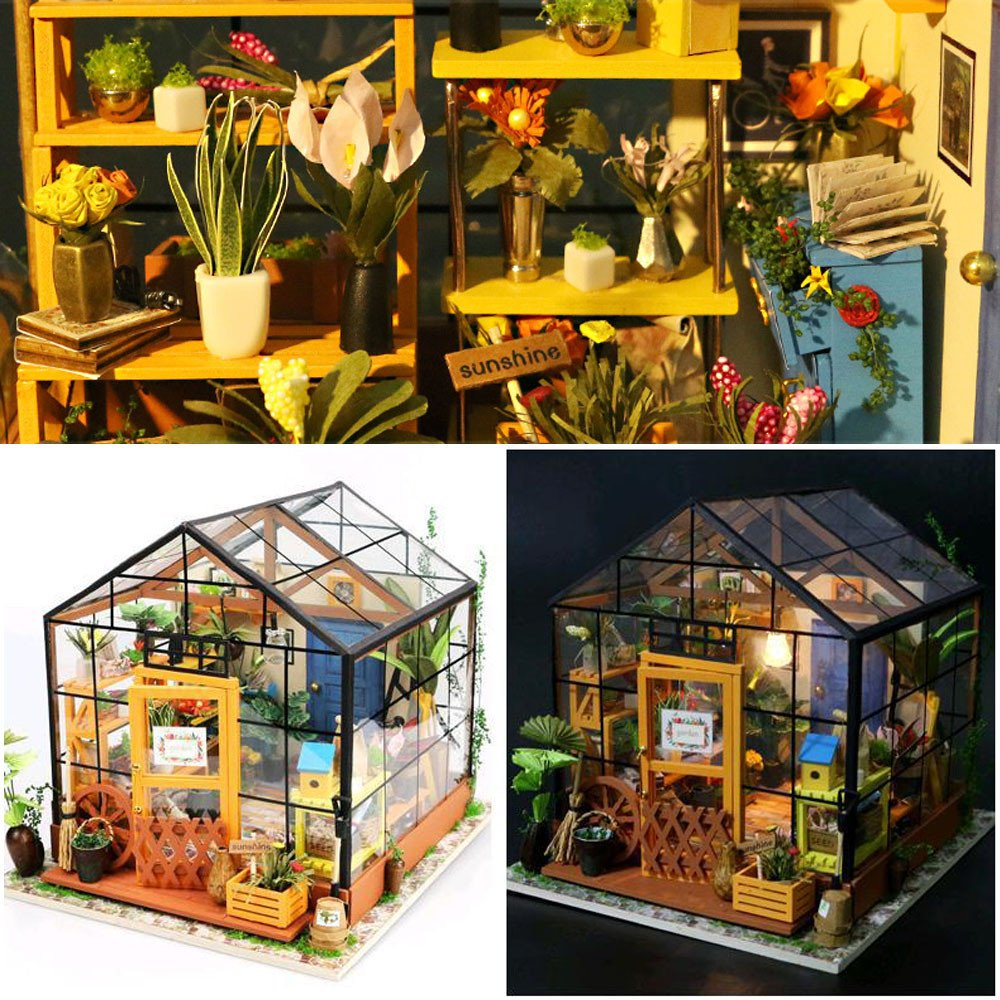 Tronet DIY Dollhouse Wooden Creative Gift Toy Wooden DIY Doll House 3D Stereo Jigsaw Puzzle Hand Assembled Best Birthday Gifts