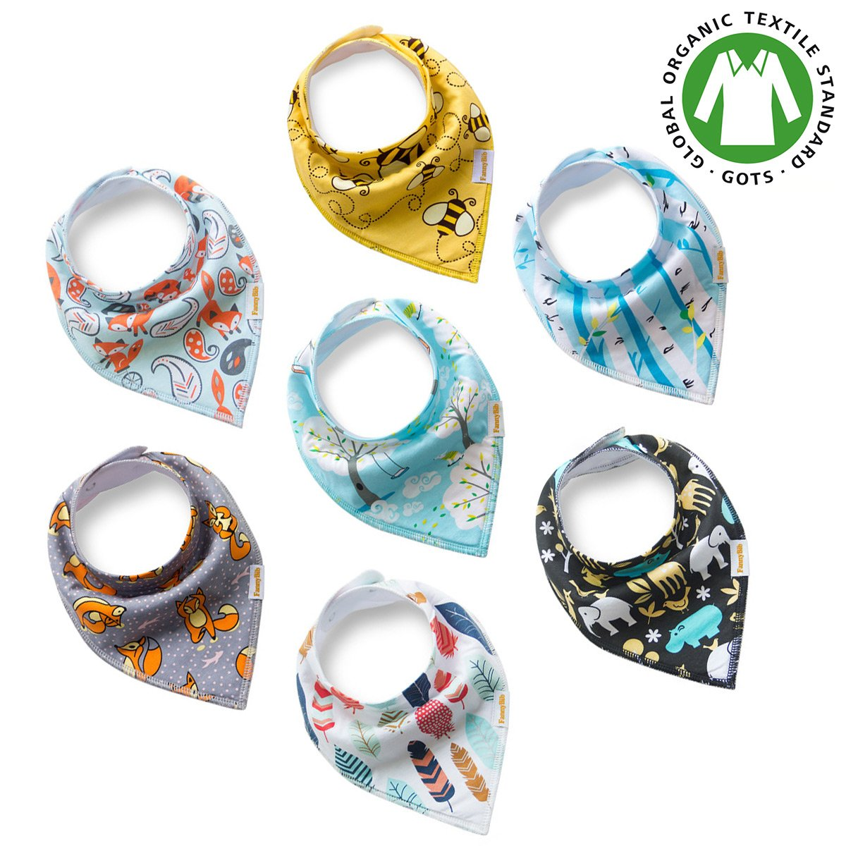 Premium Baby Bandana Drool Bibs unisex 7-Pack Burp Cloth Gift Set for Drooling Teething Feeding 100% Organic Cotton Absorbent Hypoallergenic for Boys and Girls FannyBib