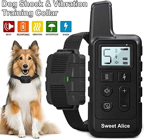 Dog Shock Collar with Remote Rechargeable,Training Collar for Dogs Waterproof,W 3 Training Modes,Beep,Vibration and Shock,1050 Ft Remote Range,1-5 Shock Levels E Collars for Small Medium Large Dogs