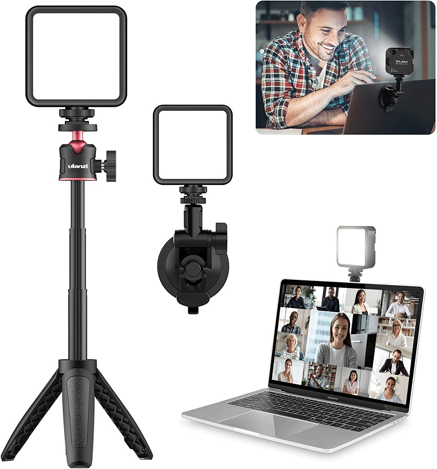 VIJIM Zoom Lighting for Computer with Strong Suction Cup and Adjustable Tripod,Laptop Light for Video Conferencing,Video Conference Lighting for Remote Working,Zoom Call,Online Meeting