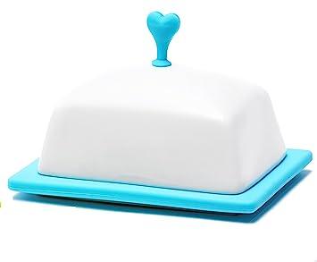 Mantequilla platos con fundas – Vajilla de cerámica Dispensador de Mantequilla Keeper – Bolsa hermética para