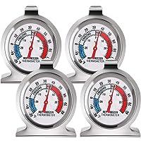 fanshiontide 4 Piezas Termómetro para Frigorífico Acero Inoxidable Termometro Frigorifico Termómetro para Congelador…