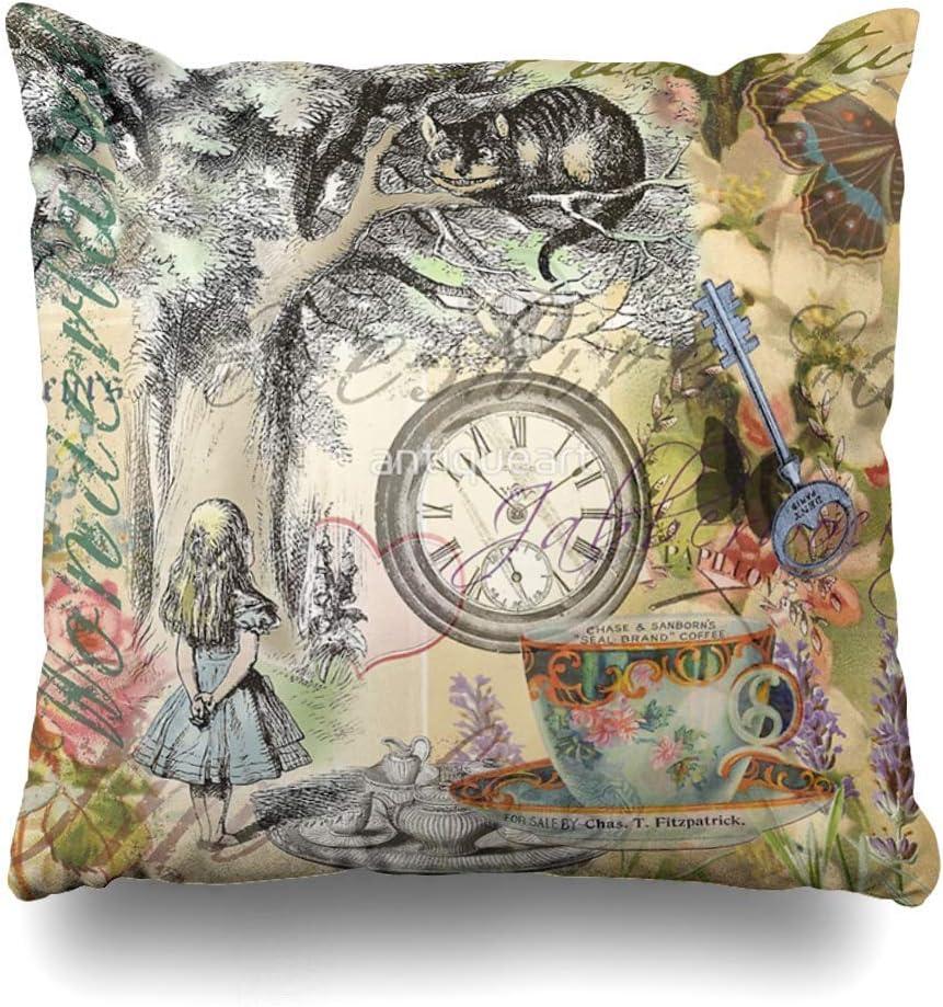 "18/""Inch Alice in Wonderland Cotton Linen Pillowcase Sofa Cushion Cover Home Deco"