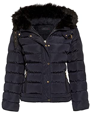 Womens Fur Hooded Belt Jacket Quilted Winter Button Long Faux Warm Padded Shower Zip Outerwear Proof Thick Pocket_G108_Navy_12