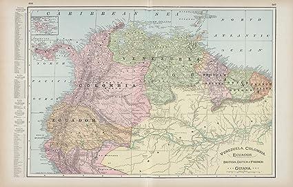 Amazon.com: Map Poster - Venezuela, Colombia, Ecuador; British ... on