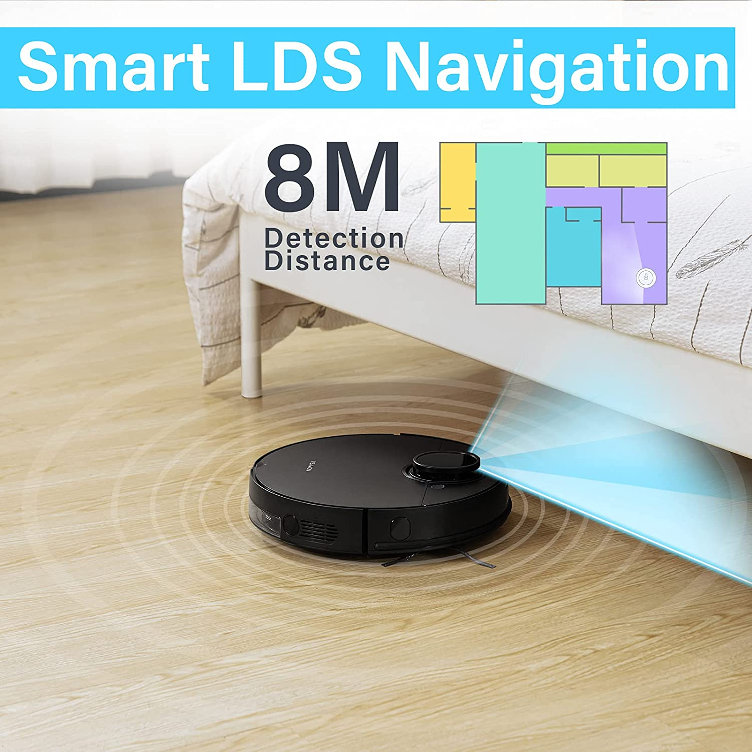 VEAVON V8 Robot Vacuum Cleaner with Wi-Fi Connected, 4000Pa Strong Suction Lidar Robotic Vacuum Cleaner, Automatic Vacuum and Mop Cleaner, Mapping Technology, No-mop Zones, Virtual Walls, Black -