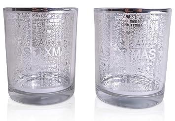372b291a718 DekStore chiccie Set de 3 Xmas té luz Cristal Transparente 8 cm - -  Portavelas de té luz Cristal Plata  Amazon.es  Juguetes y juegos