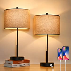 Set of 2 Touch Control Tall Table Lamps with 2 USB Ports, 3-Way Dimmable Modern Bedside Nightstand Lamps 22.5inch with Beige Fabric Shades for Bedroom Guestroom Living Room Hotel, 2 LED Bulbs Included