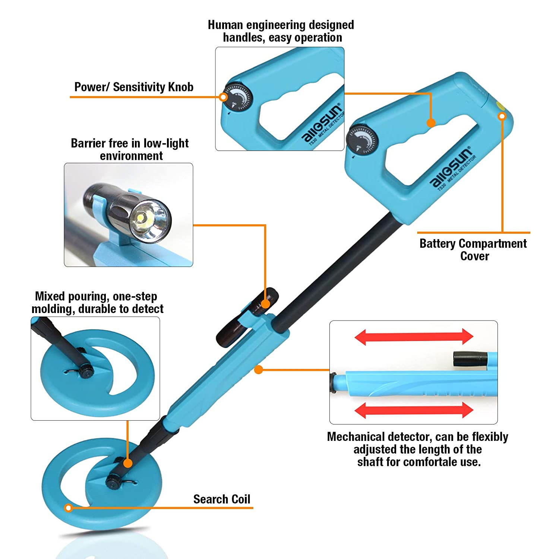 Amazon.com: all-sun TS20A Junior Metal Detector for Children DIY Beach Yard Toy, Blue: Home Improvement