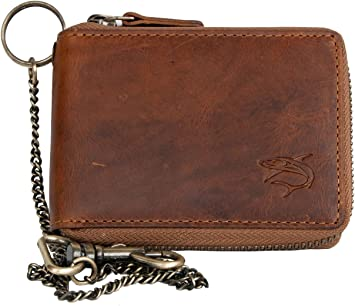 Chain to hang Men/'s natural brown leather metal zip-around wallet with a shark
