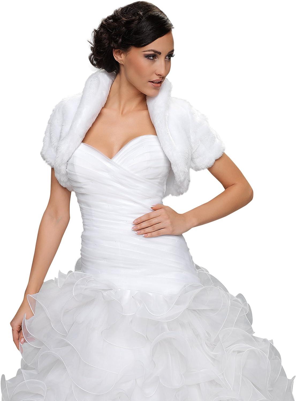 doublure integrale taille 34-46 Veste bolero femme demoiselle d honneur pour mariee mariage en fourrure artificielle renard avec manche longueur 3//4 avec col