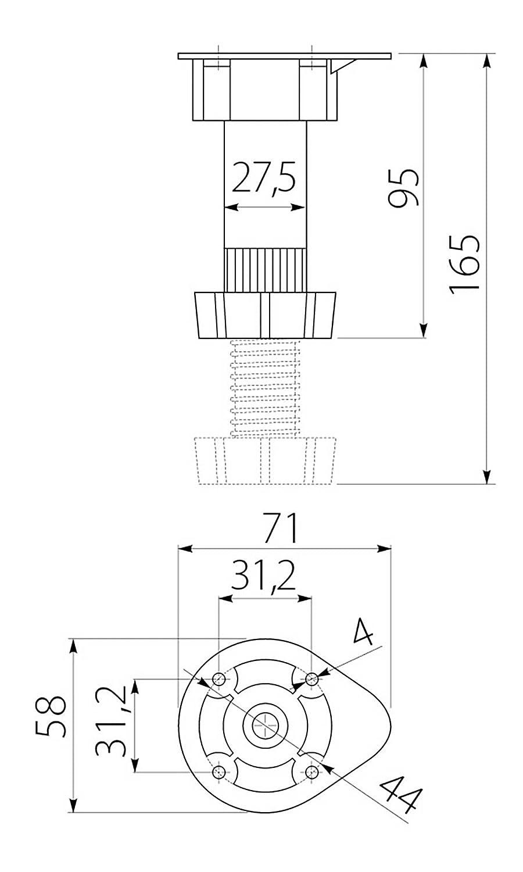 160mm NK41 4 X Mprofi MT/® M/öbelfu/ß K/üchenfu/ß Stellfu/ß Verstellbar Sockelfuss 100mm