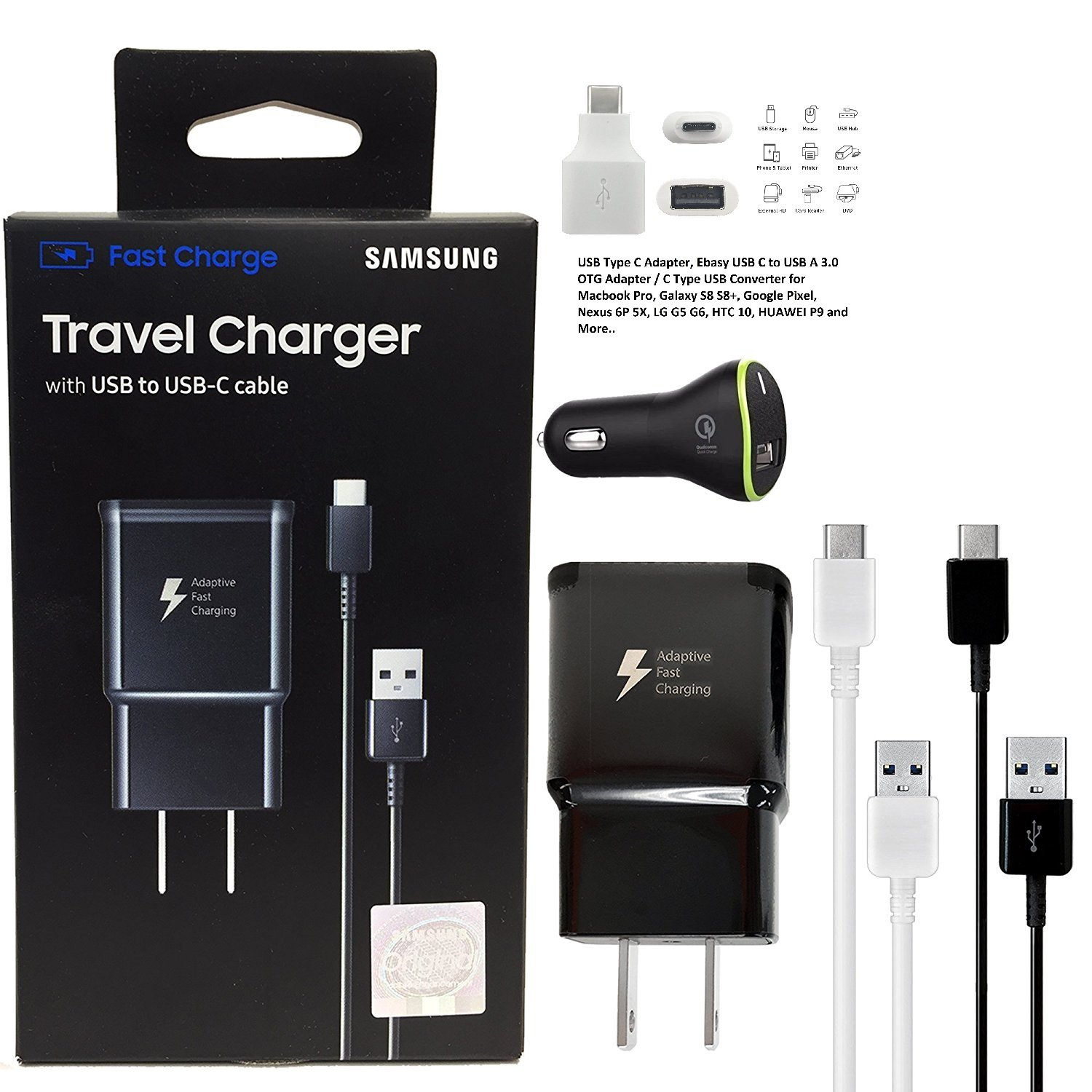 Offical Oem Samsung Adaptive Fast Charging Charger   For Samsung Galaxy S8/S8+/Note8 & W/Puregear Quick Car Charger & Google C Usb Adapter (Us Retail Packing Kit) by Pure Gear