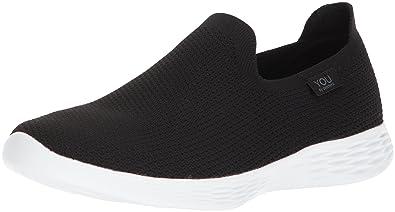Skechers Damen You Define-Zen Slip on Sneaker, Schwarz (Black/White BKW), 36.5 EU